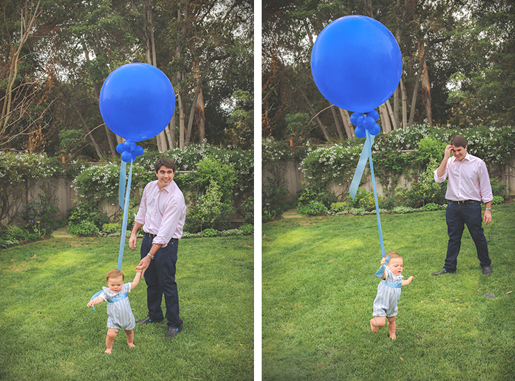 baby tied to balloon, kid photography, first birthday photos, first birthday, baby boy with dad, baby in grass