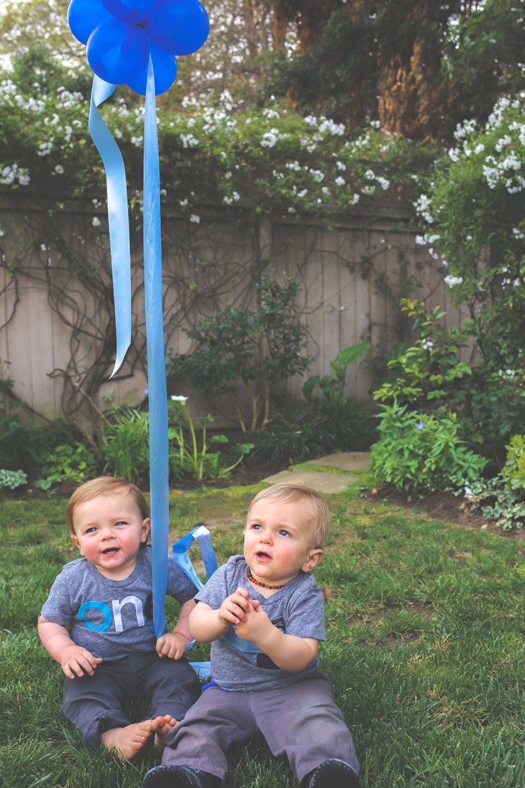 Babies in grass with balloon, first birthday party, birthday boys, babies & balloons